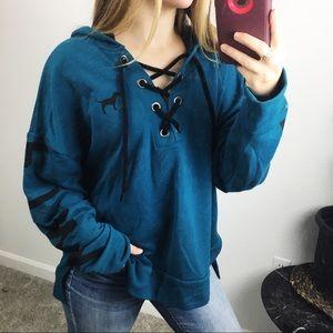 PINK Victoria's Secret lace up sweatshirt